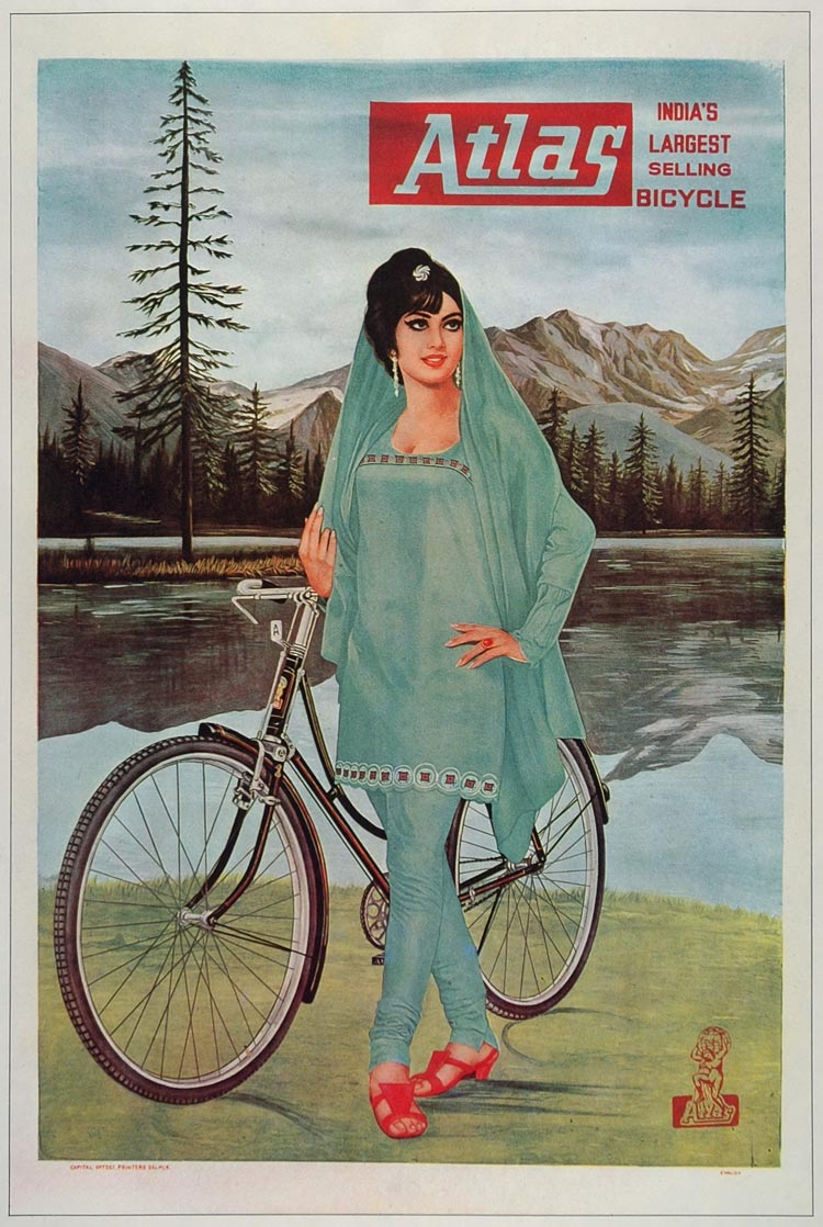 1973 Print Poster Ad Vintage Atlas Bicycle Indian Woman India Shree Des Raj Art