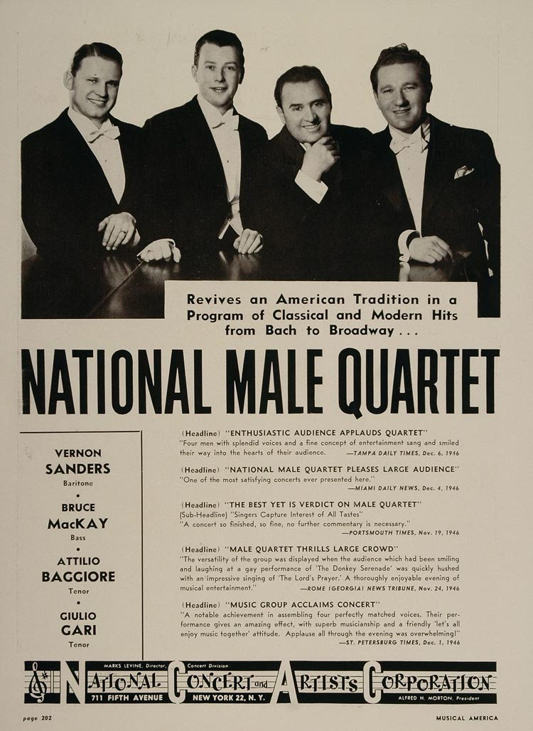 1947 National Male Quartet Sanders Baggiore Booking Ad - ORIGINAL