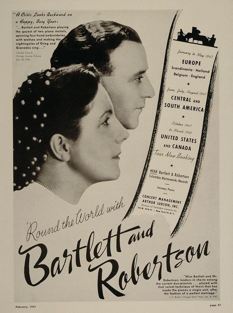 1947 Bartlett Robertson Pianists Piano Duo Booking Ad - ORIGINAL