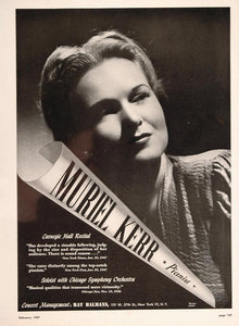1947 Muriel Kerr Pianist Piano Ray Halmans Booking Ad - ORIGINAL