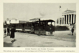 1902 Print Athens City Tramway Railway Academy Buildings Cityscape Historic BVM1