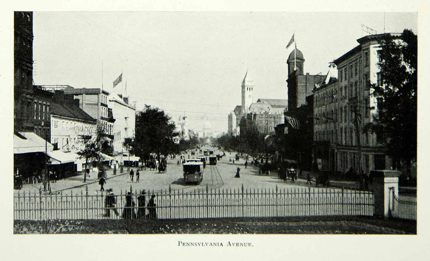 1903 Print Pennsylvania Avenue Washington D.C. City Street Historic Image BVM1