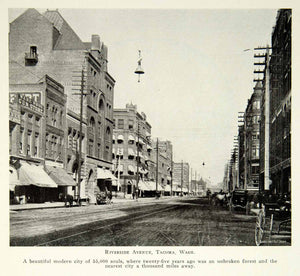1903 Print Riverside Avenue Tacoma Washington Street Cityscape Historic BVM1