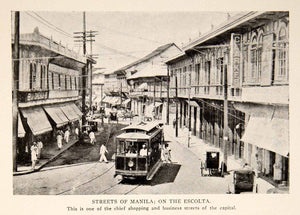 1908 Print Street Manila Escolta Shopping Business Capital Streetcar BVM2