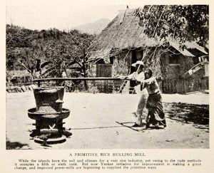 1908 Print Primitive Rice Hulling Mill Power Industrialization Indigenous BVM2