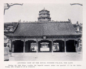 1911 Print View Royal Summer Palace Gate Boxer Rebellion Guard Italian BVM2