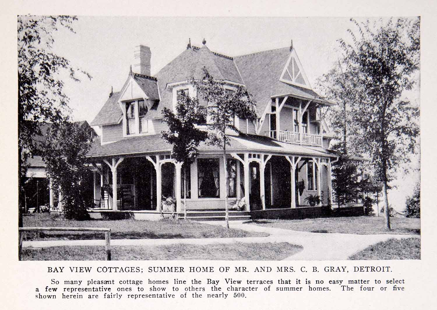 1911 Print Bay View Cottage Summer Home Gray C B Detroit Michigan Gables BVM2