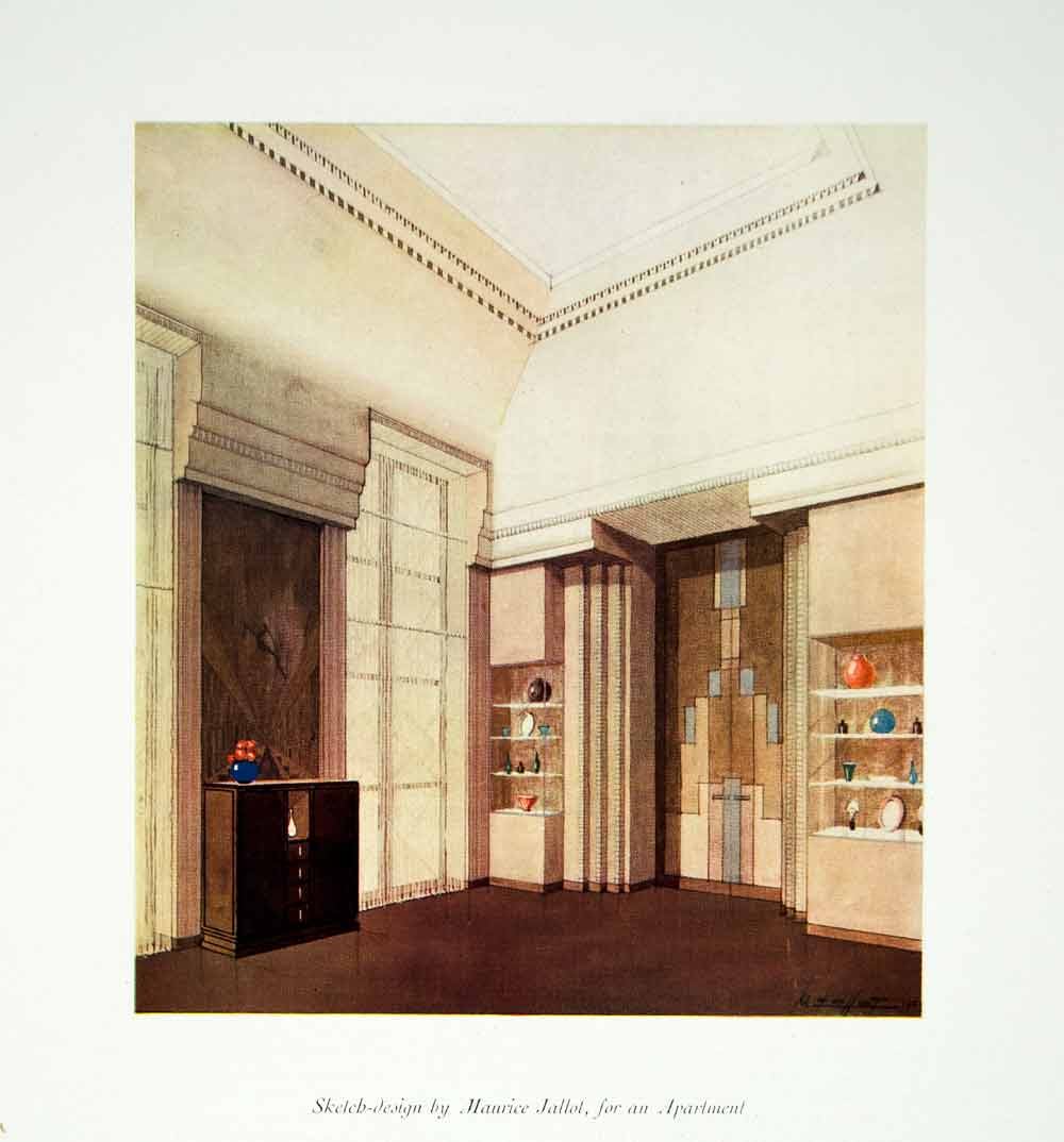 1931 Photolithograph Sketch Study Art Deco Apartment Interior Maurice Jallot CA1