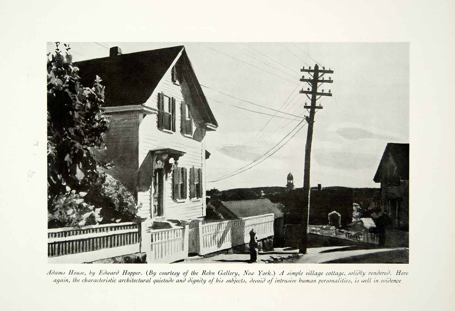 1931 Print Adams House Edward Hopper Townscape Telegraph Wires Pole Fence CA1