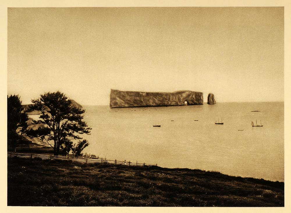 1926 Ile Percee Isle Rock Island Quebec Photogravure - ORIGINAL CAN2