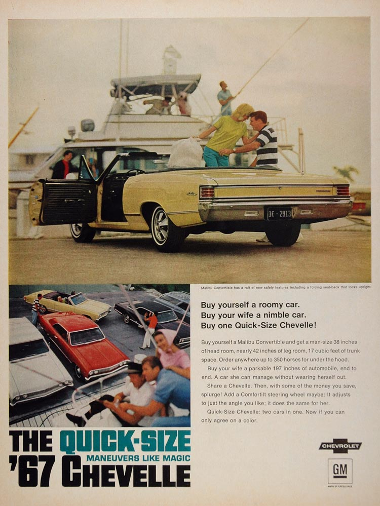 1967 Ad Chevrolet Chevelle Malibu Convertible Yellow - ORIGINAL CARS5