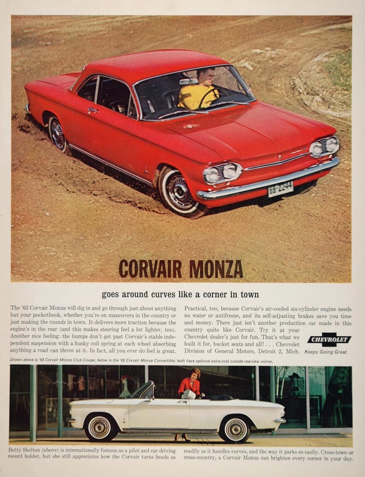 1963 Ad Red White Chevy Corvair Monza Car Betty Skelton - ORIGINAL CARS5