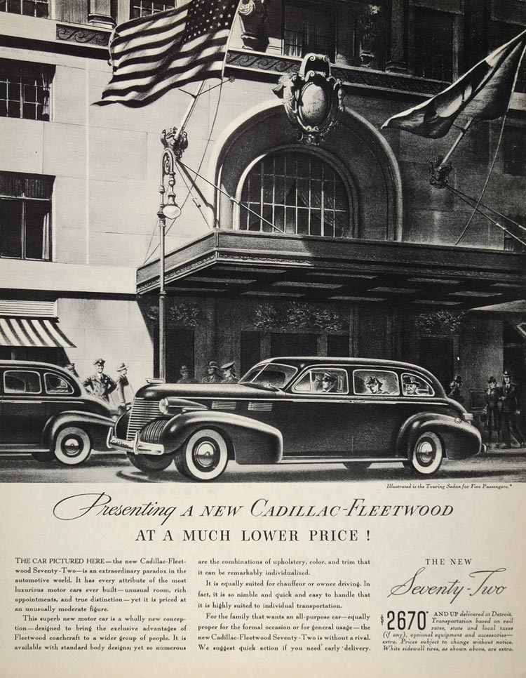 1940 Ad Cadillac Fleetwood Seventy-Two Luxury Touring Sedan Vehicle Hotel CARS5