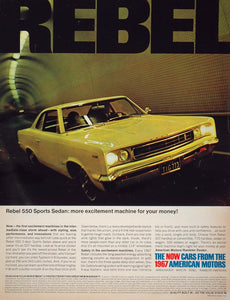 1967 Ad Yellow Rebel 550 Sports Sedan American Motors - ORIGINAL CARS5
