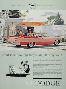 1959 Ad Dodge Pink Convertible Tail Fins Classic Car - ORIGINAL CARS5