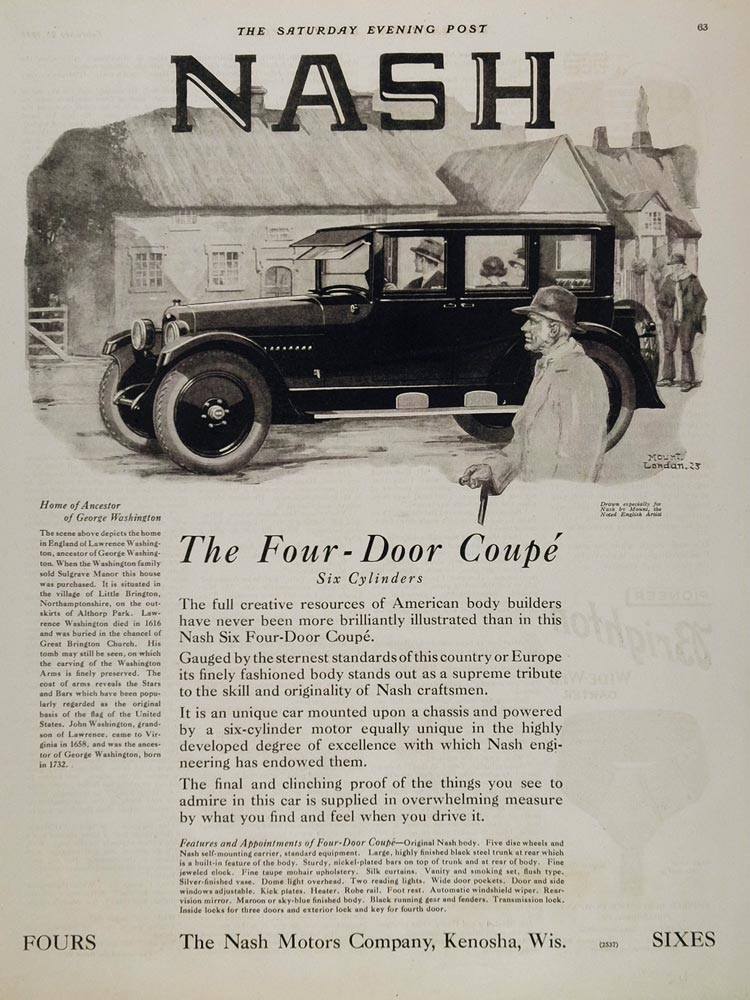 1924 Ad Nash Six 4-Door Coupe Little Brington England - ORIGINAL CARS5