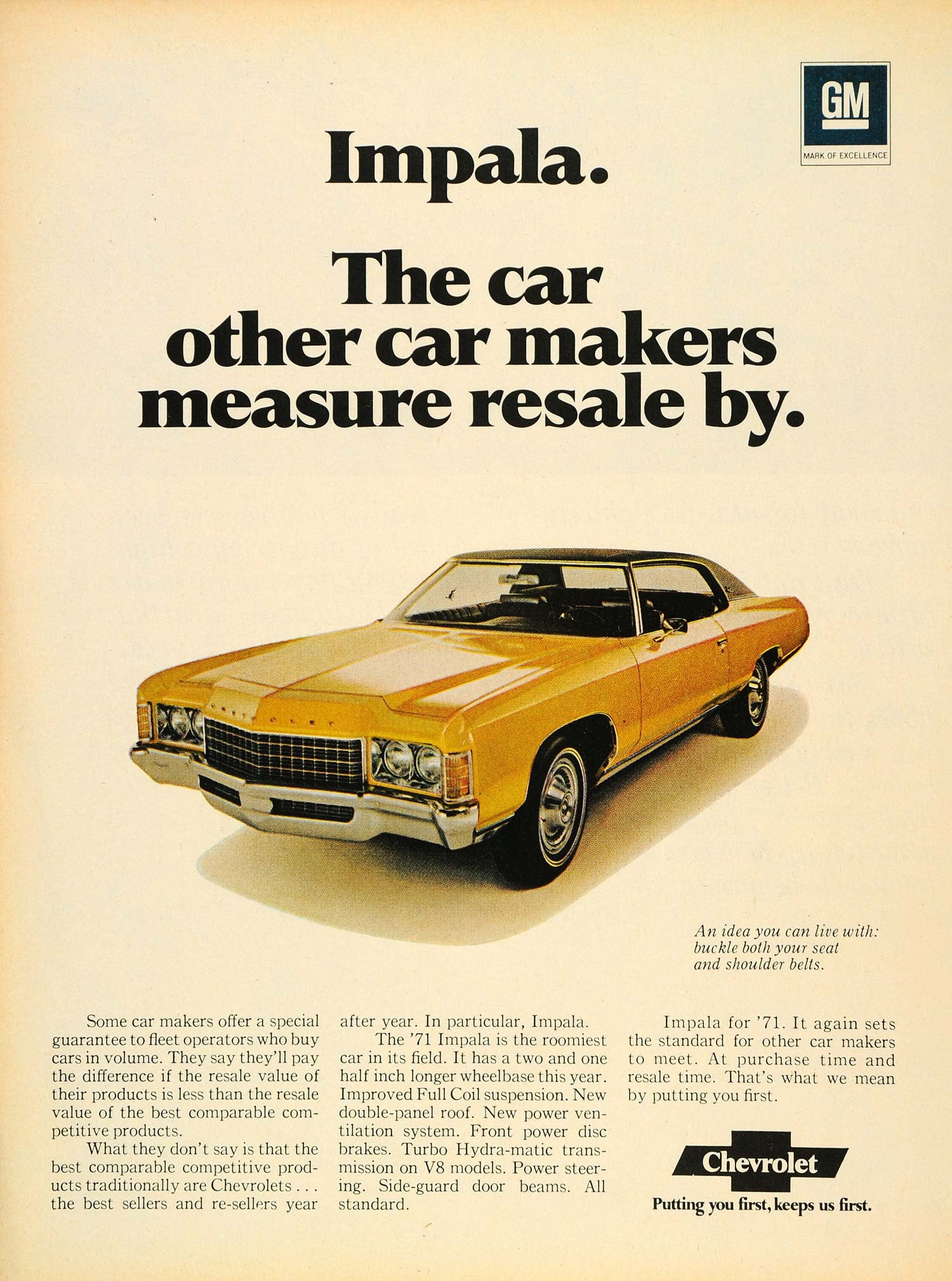 1971 Ad Yellow Chevrolet Impala Turbo Hydra-matic V8 - ORIGINAL CARS7 - Period Paper