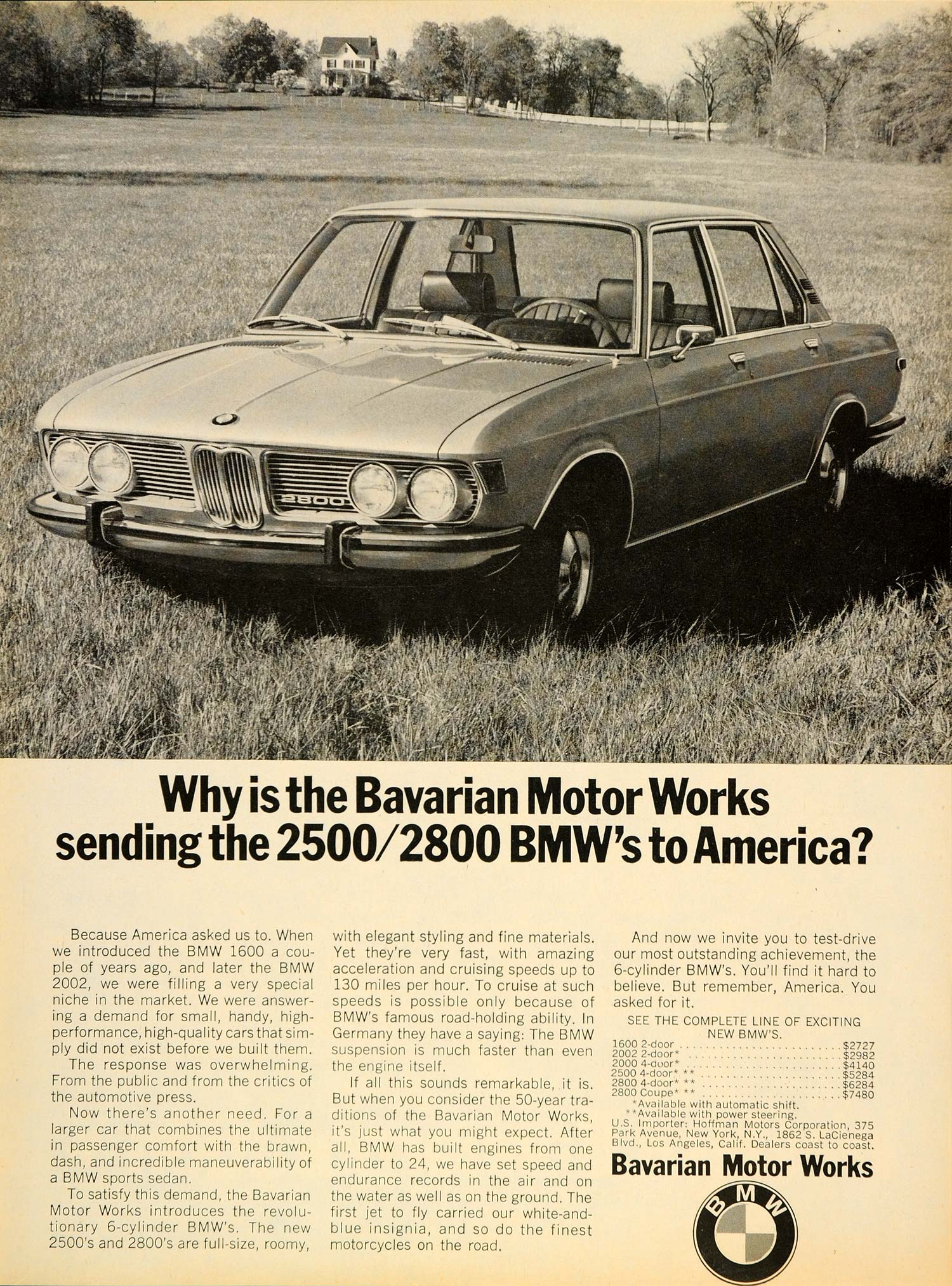 1969 Ad Bavarian Motor Works 2800 Auto BMW House Yard - ORIGINAL CARS7