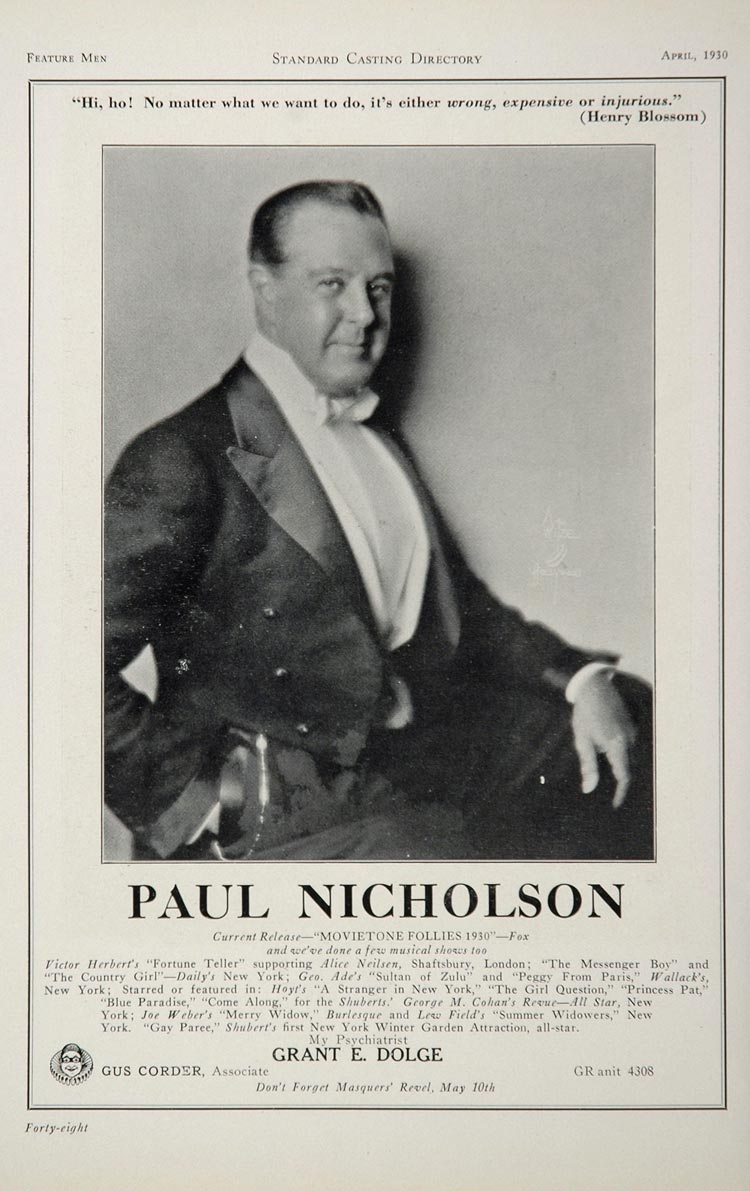1930 Paul Nicholsons Actor Movie Film Stage Casting Ad - ORIGINAL CAST2