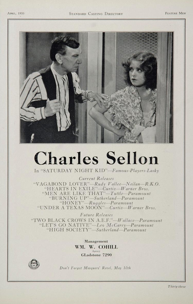 1930 Charles Sellon Actor Movie Film Casting Ad - ORIGINAL CAST2