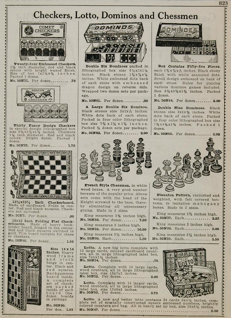 1934 Ad Checkers Lotto Dominos Chessmen Board Games - ORIGINAL ADVERTISING CAT2