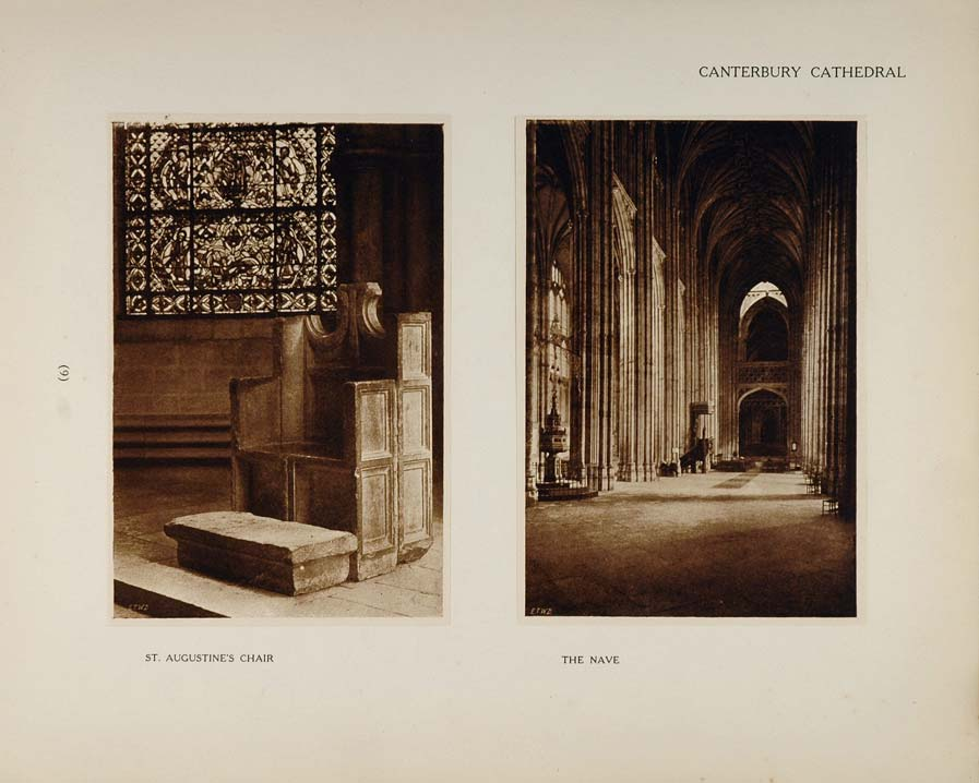 1905 Canterbury Cathedral St. Augustine's Chair Prints - ORIGINAL CATH