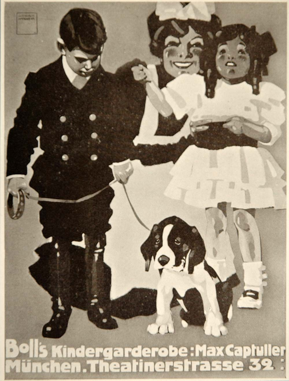 1913 Children Clothes L. Hohlwein Beagle Mini Poster - ORIGINAL CB1