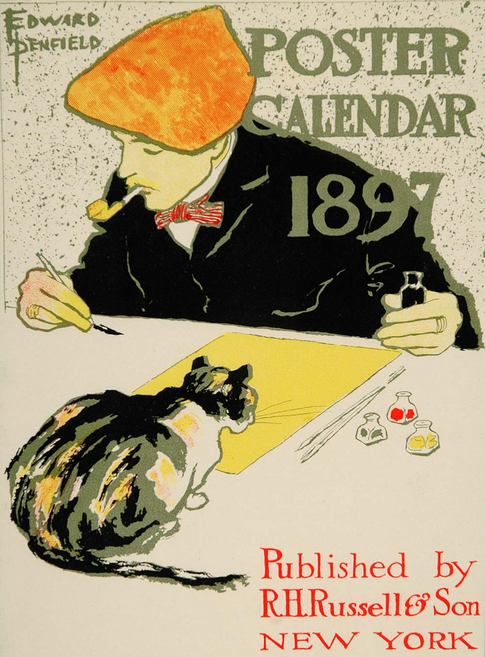 1913 Calendar Artist Cat Edward Penfield Mini Poster - ORIGINAL CB1