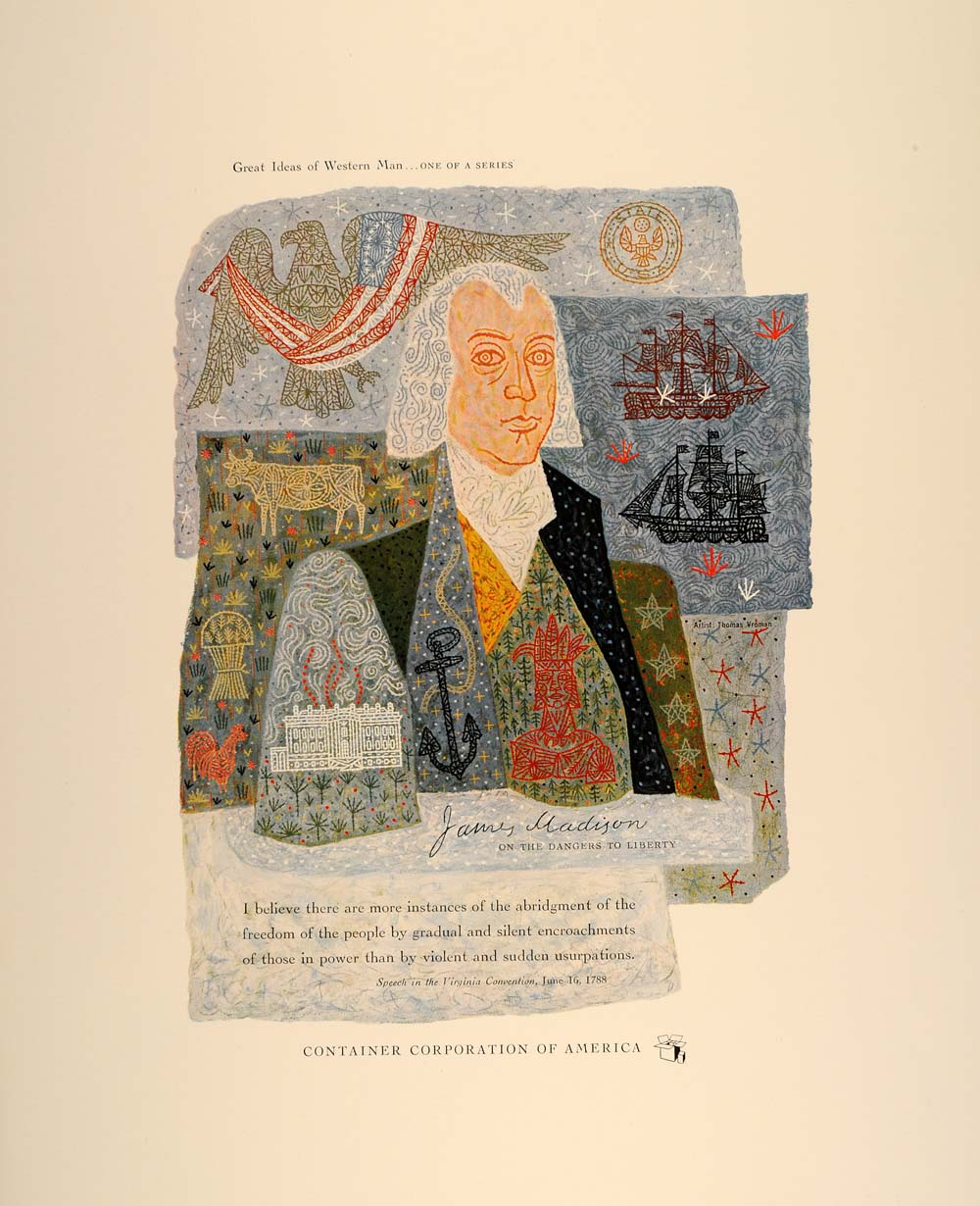 1954 CCA Art Thomas Vroman James Madison Speech Print - ORIGINAL CCA1