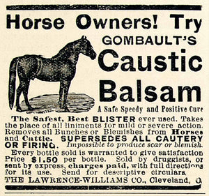 1893 Ad Lawrence-Williams Gombaults Caustic Balsam Horse Ointment Cure CCG1