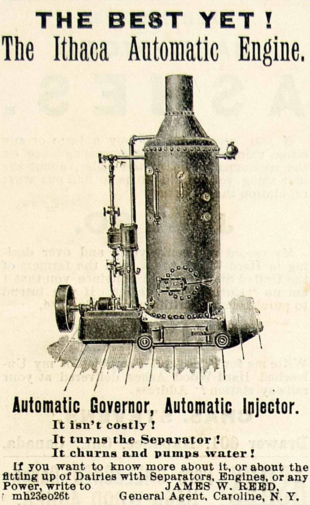 1893 Ad Ithaca Automatic Engine Dairy Farm Cream Separator James W Reed CCG1