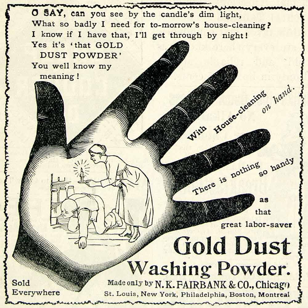 1893 Ad Gold Dust Washing Powder NK Fairbank Candle Hand Palm House CCG1