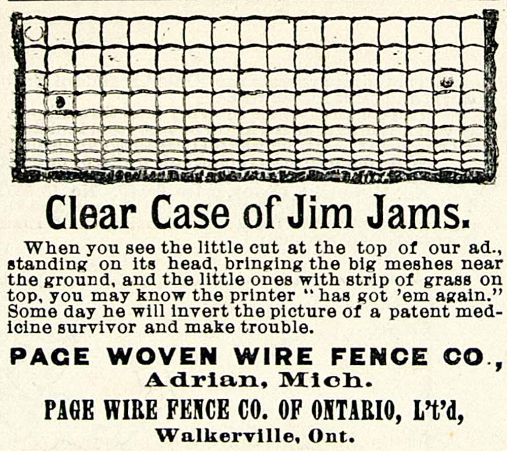 1893 Ad Page Woven Wire Fence Case Jim Jams Farming Metal Enclosure ...