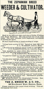 1894 Ad Zephaniah Breed Weeder Cultivator Farm Machine 26 Merchant Row CCG1