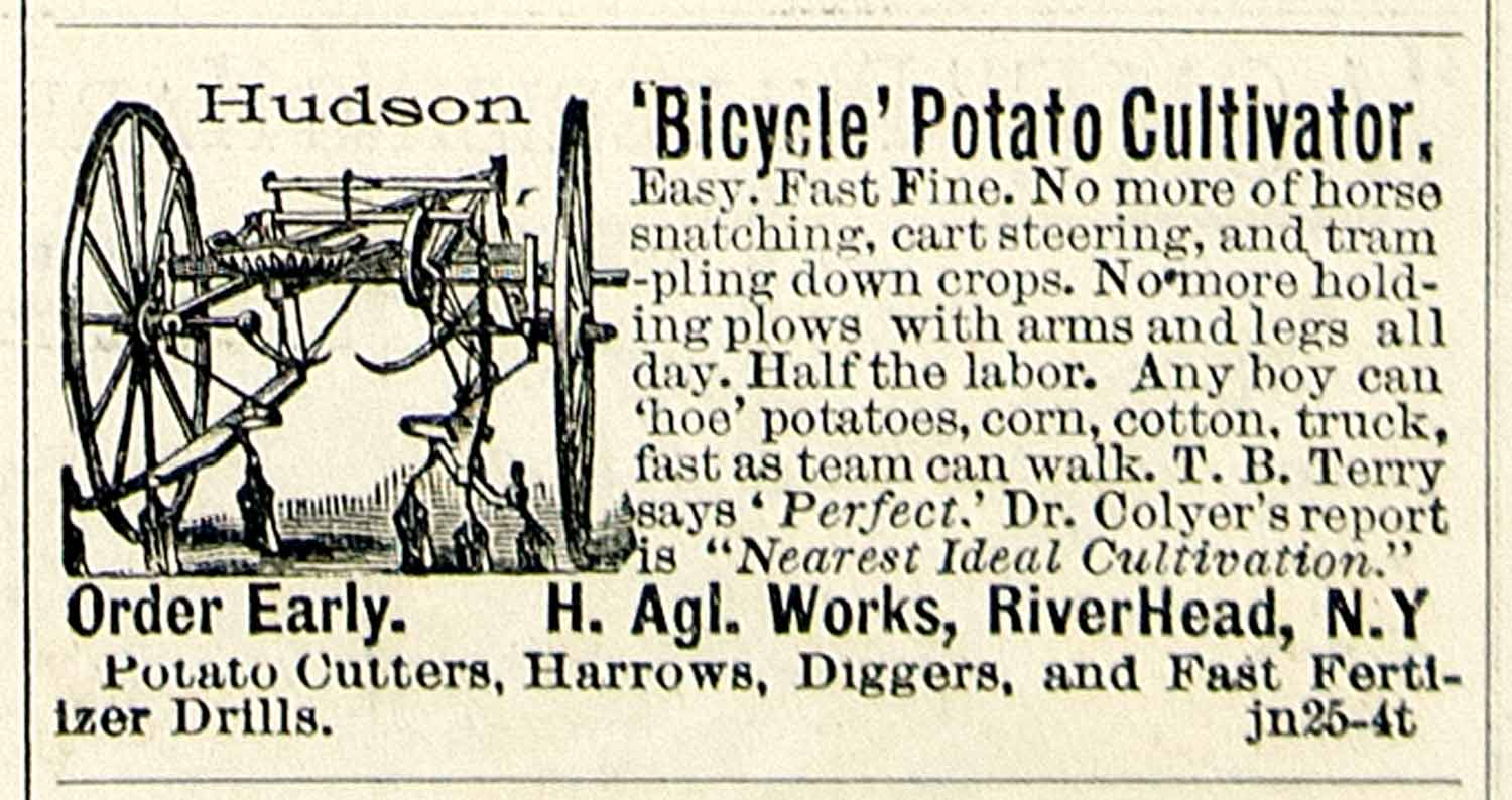 1894 Ad Hudson Bicycle Potato Cultivator Farm Machine Riverhead NY Crop CCG1