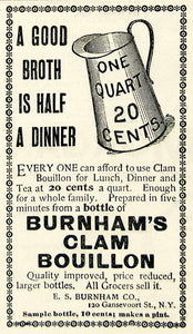 1894 Ad ES Burnham Clam Bouillon Broth Quart Pitcher 120 Gansevoort St NY CCG1
