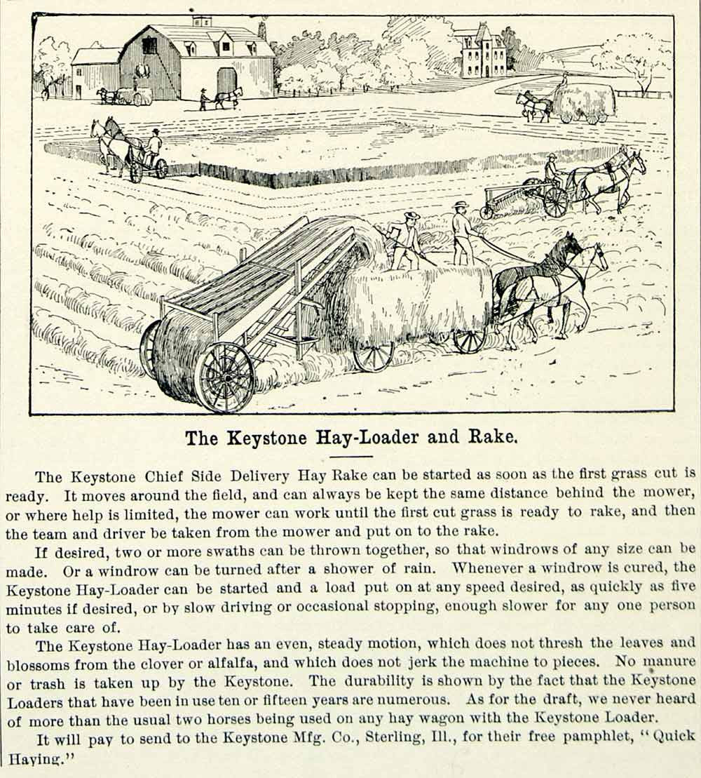 1894 Ad Keystone Hay Loader Wagon Rake Farm Machinery Field Horse Barn CCG1 - Period Paper
