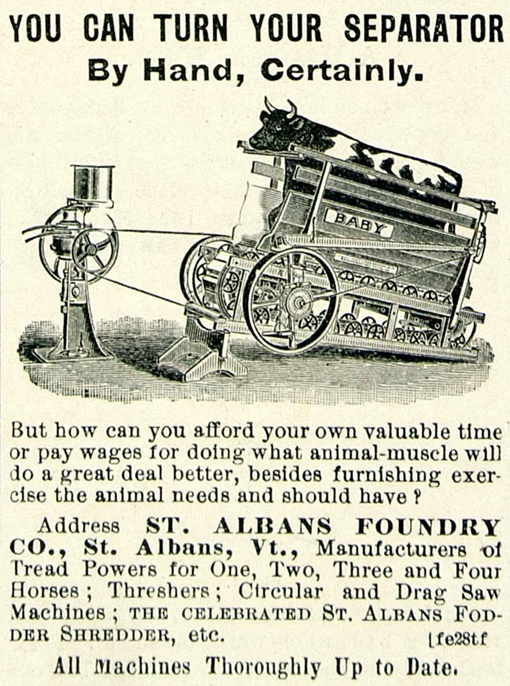 1895 Ad Cow Powered Milk Cream Separator Farm Machinery St Albans Foundry CCG1