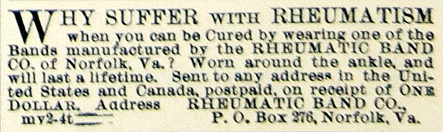 1895 Ad Rheumatic Band Health Medical Quackery Norfolk VA Cure Remedy CCG1