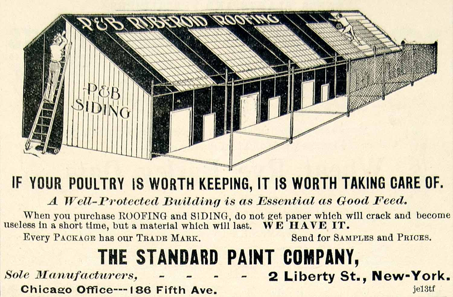 1895 Ad P&B Siding Ruberoid Roofing Standard Paint Poultry Farm 2 Liberty CCG1
