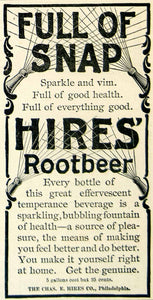 1895 Ad Charles E Hires Root Beer Soda Full Snap Bottle Spray Soft Drink CCG1