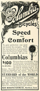 1896 Ad Columbia Bicycles Hartford CT Speed Comfort Pneumatic Single Tube CCG1