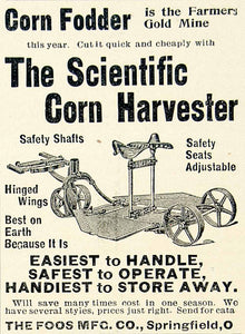 1896 Ad Foos Corn Fodder Cutter Harvester Farm Machine Safety Shaft CCG1