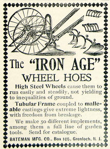 1896 Ad Bateman Iron Age Wheel Hoe Steel Frame Farm Machine Tubular CCG1