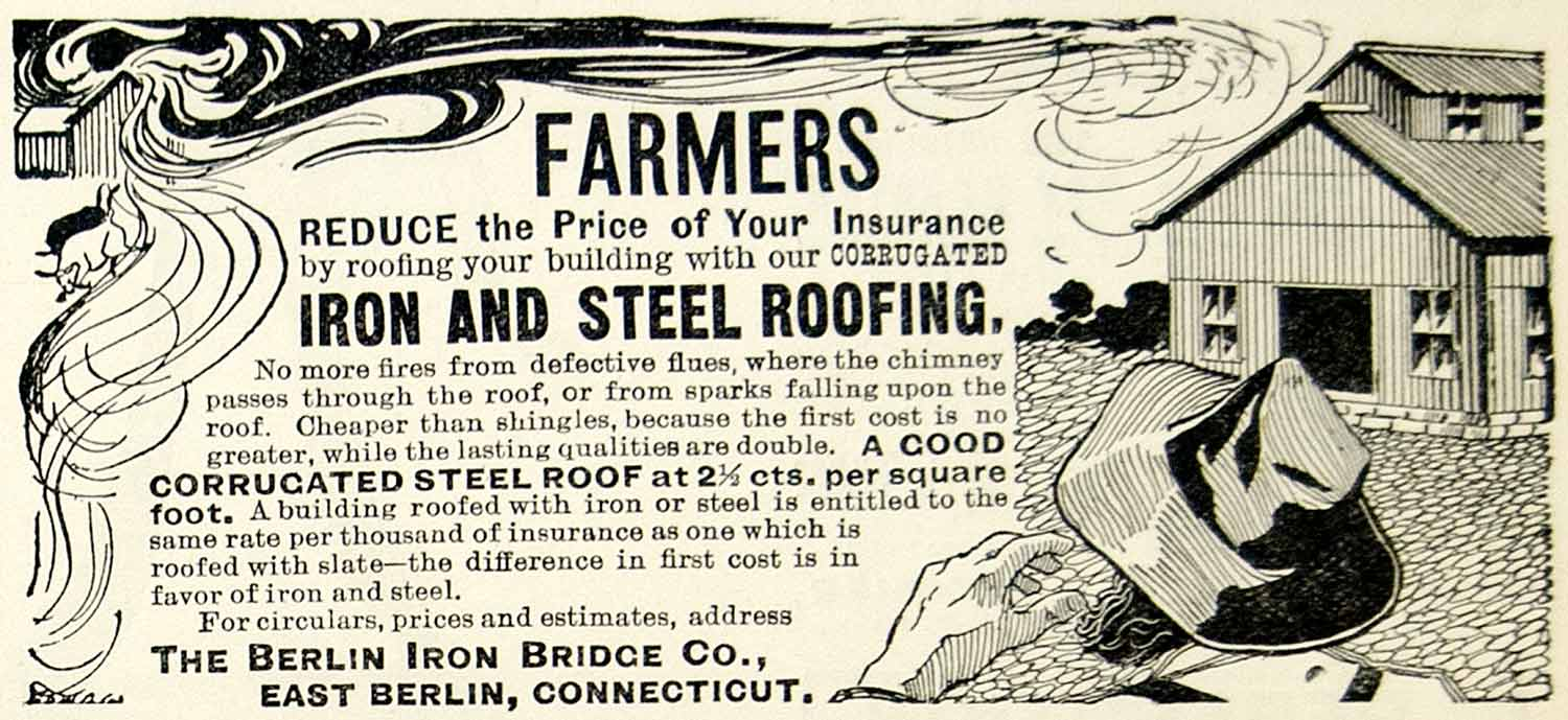 1897 Ad Berlin Iron Bridge Farmer Corrugated Barn Roofing Steel East CT CCG1