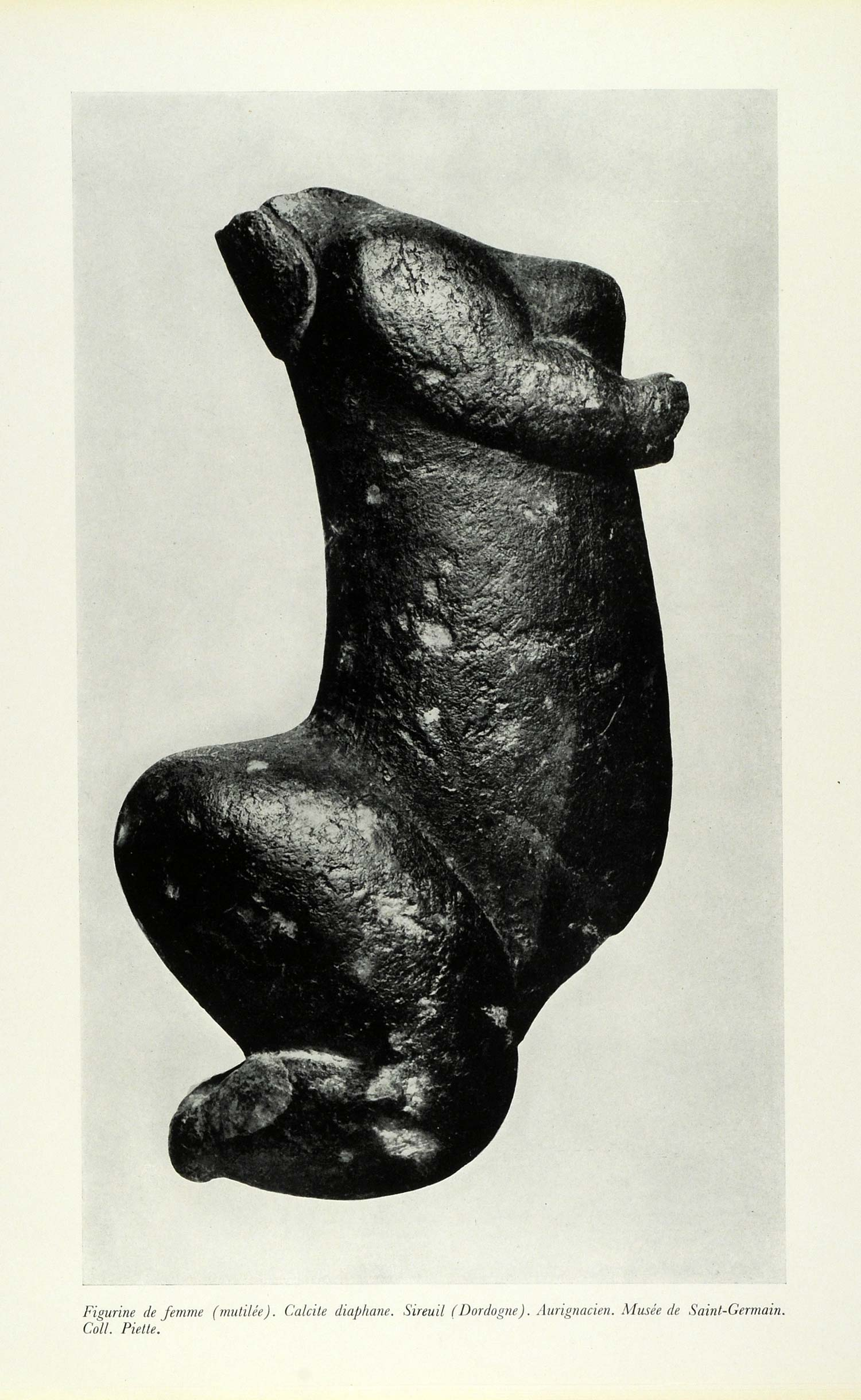 1953 Print Sculpture Bust Woman Mutilation Prehistoric Art Fertility France CDA1