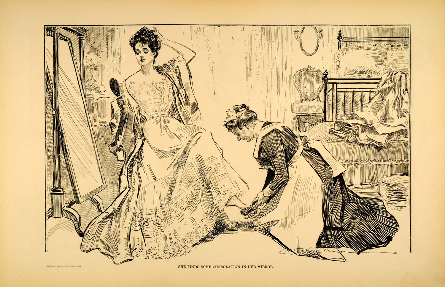 1906 Print Charles Dana Gibson Girl Mirror Lady Maid Bedroom Art Drawing Sketch