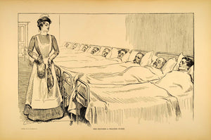 1906 Print Charles Dana Gibson Victorian Nurse Hospital Ward Invalids Patients
