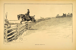 1906 Print Charles Dana Gibson Girl Sidesaddle Horse Jumping Fence Drawing Art