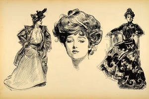 1906 Print Charles Dana Gibson Girl Portrait Sketches Costume Victorian Drawing